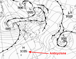 Black and white weather map with a marked anticyclone