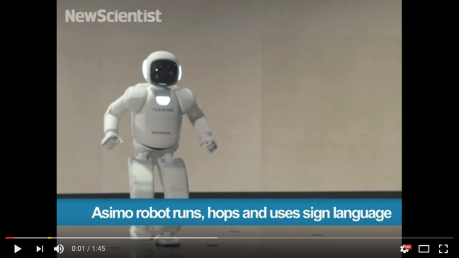 YouTube: Asimo robot runs, hops and uses sign language