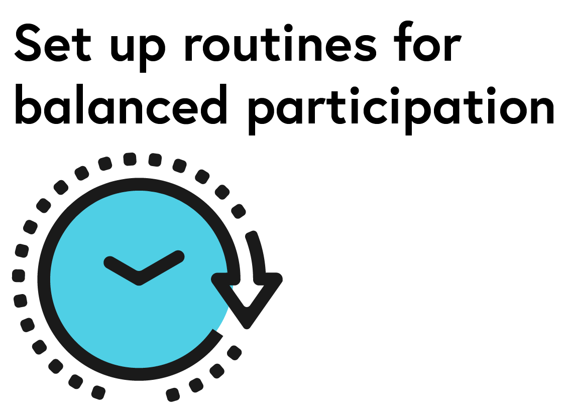Icon representing 'Set up routines for balanced participation': Clock face