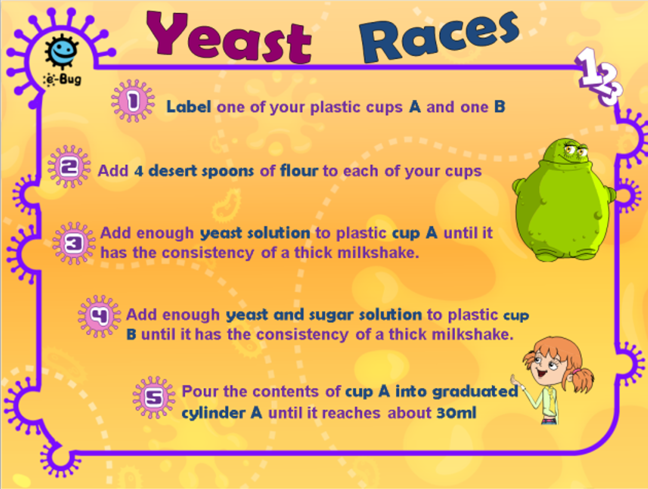 summary of instructions for yeast races activity