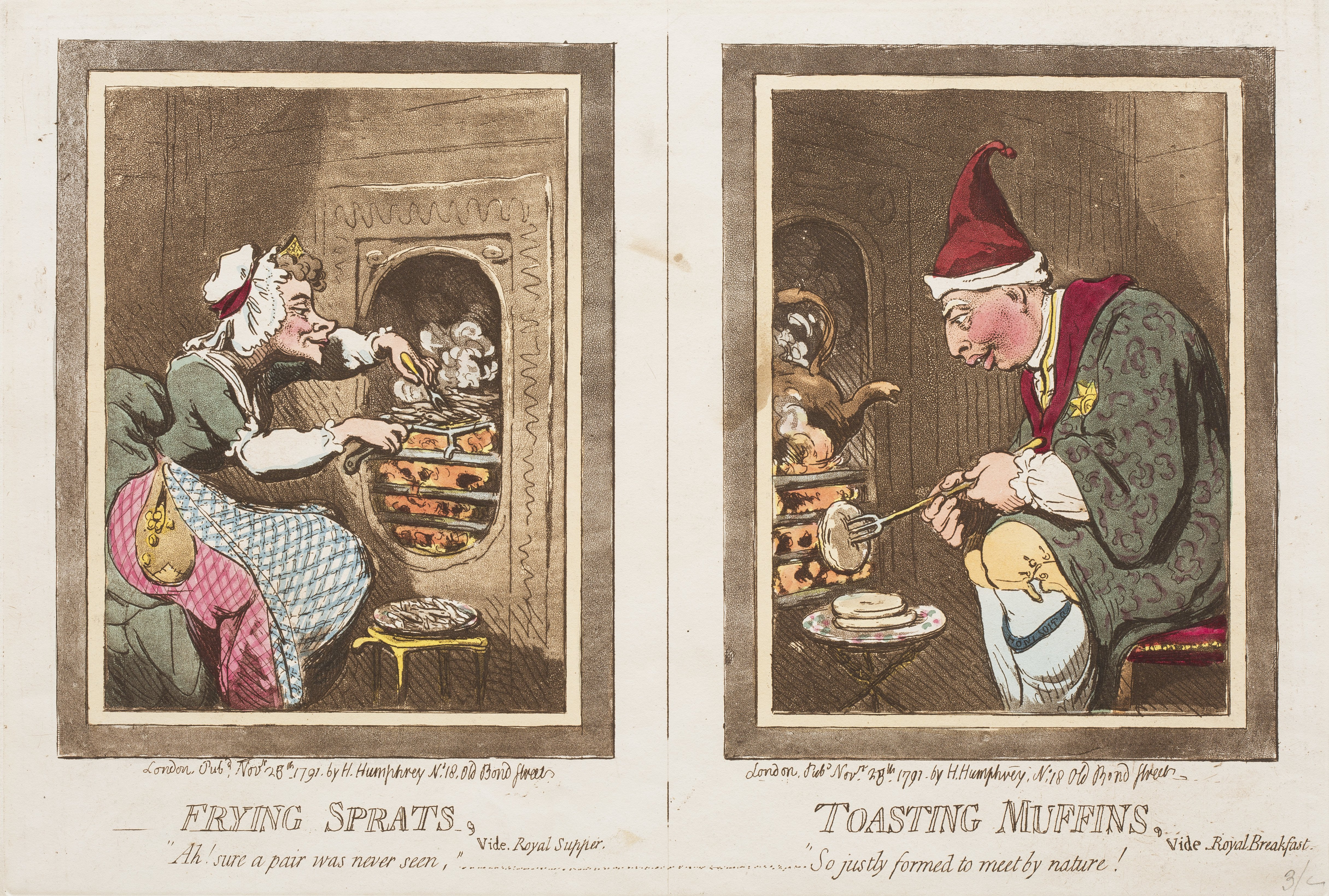 2 cartoon prints, one of Queen Charlotte and the other King George