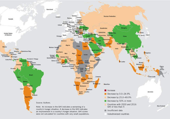 A map showing The Global Hunger Index