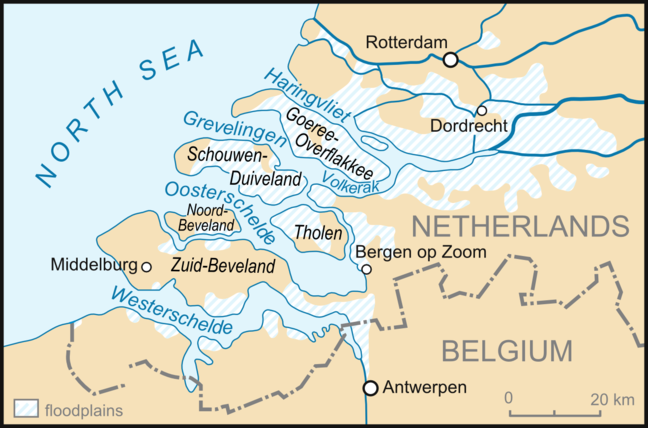 Map showing the North Sea, Netherlands and Belgium with flood plains highlighted. Showing the most extensive flooding occurring on the islands of Schouwen-Duiveland, Tholen, Goeree-Overflakkee and parts of the islands of Zuid-Beveland and Noord-Beveland.