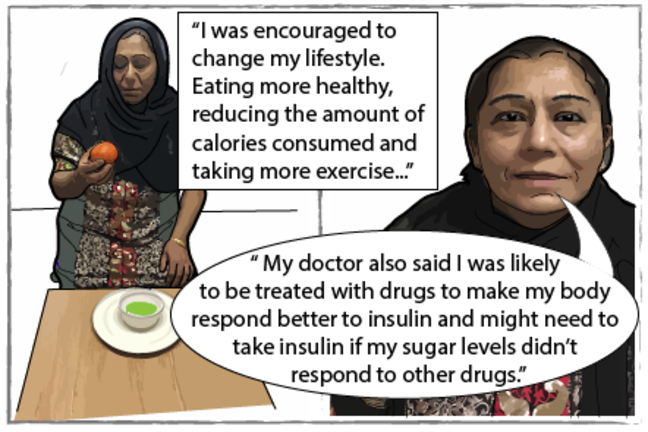 "Seema stood with some healthy food. She says ""I was encourage to change my lifestyle. Eating more healthy, reducing the amount of calories consumed and taking more exercise. My doctor also said I was likely to be treated with drugs to make my body respond better to insulin and might need to take insulin if my sugar levels didn't respond to other drugs."""