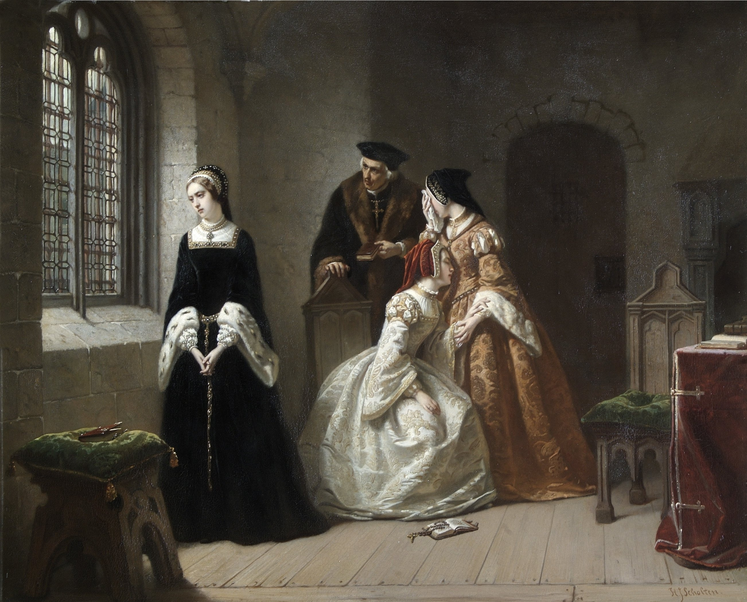 A painting of Lady Jane Grey standing by a window in the Tower of London, with a Bishop and 2 courtiers in the background