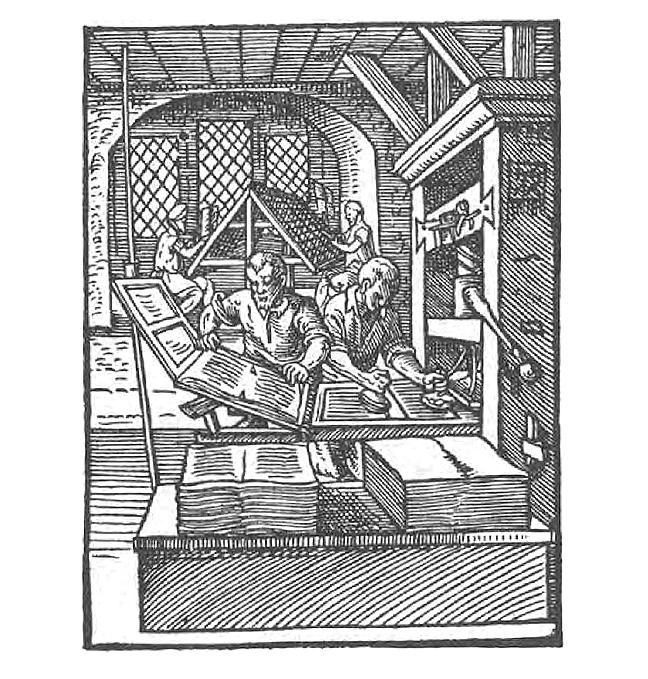 A black and white image of a  Printer in Jost Amman, Das Ständebuch (Frankfurt am Main, 1568).