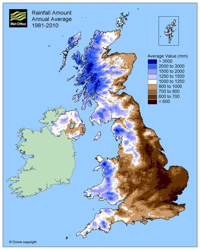 A coloured map of the U, with browns representing below average rainfall and blues representing above average rainfall. High ground in the west clearly shows up as blue, with browns further east and southeast.