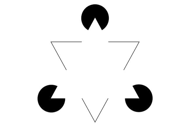 Spatially separate fragments give the impression a bright white triangle, defined by a sharp illusory contour, occluding three black circles and a black-outlined triangle