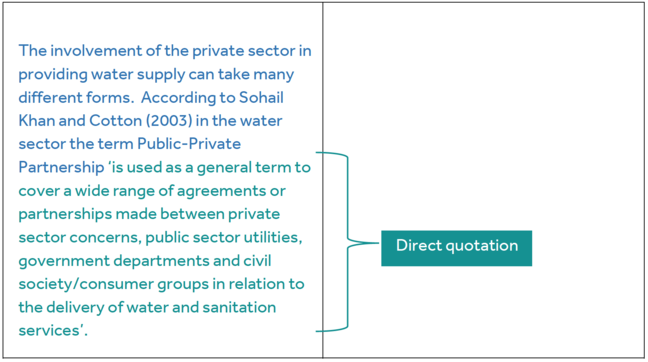 The involvement of the private sector in providing water supply can take many different forms.  According to Sohail Khan and Cotton (2003) in the water sector the term Public-Private Partnership (Direct quotation:) 'is used as a general term to cover a wide range of agreements or partnerships made between private sector concerns, public sector utilities, government departments and civil society/consumer groups in relation to the delivery of water and sanitation services'.