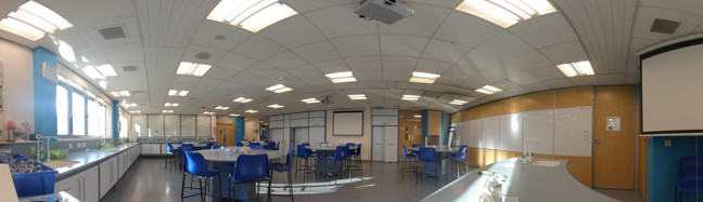 Science Lab Layout - Panoramic view - Described in text below