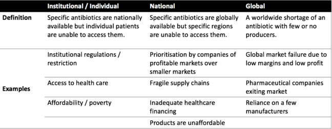 Table showing the definition of 'institutional/individual', 'national', and 'global', then providing examples for each.
