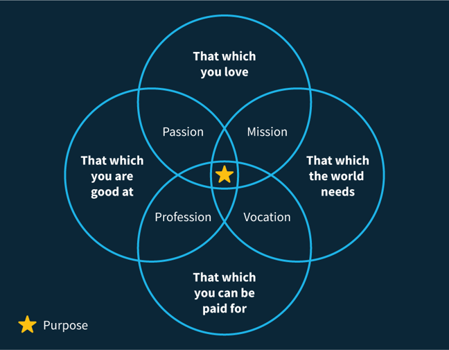 Venn diagram featuring passion, mission, profession and vocation