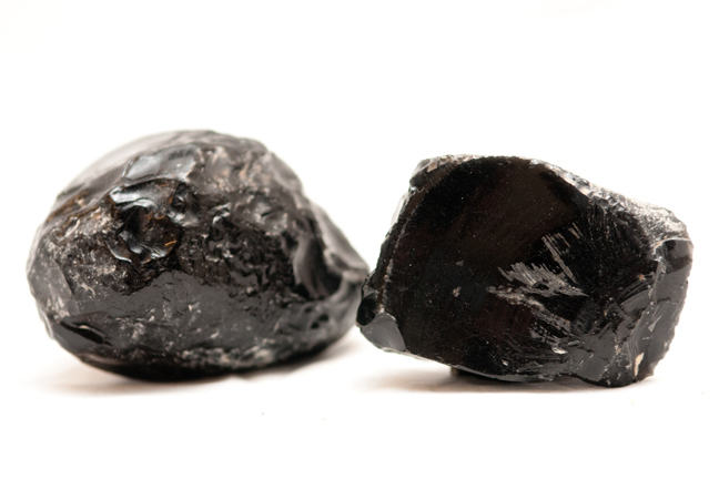 Two pieces of obsidian