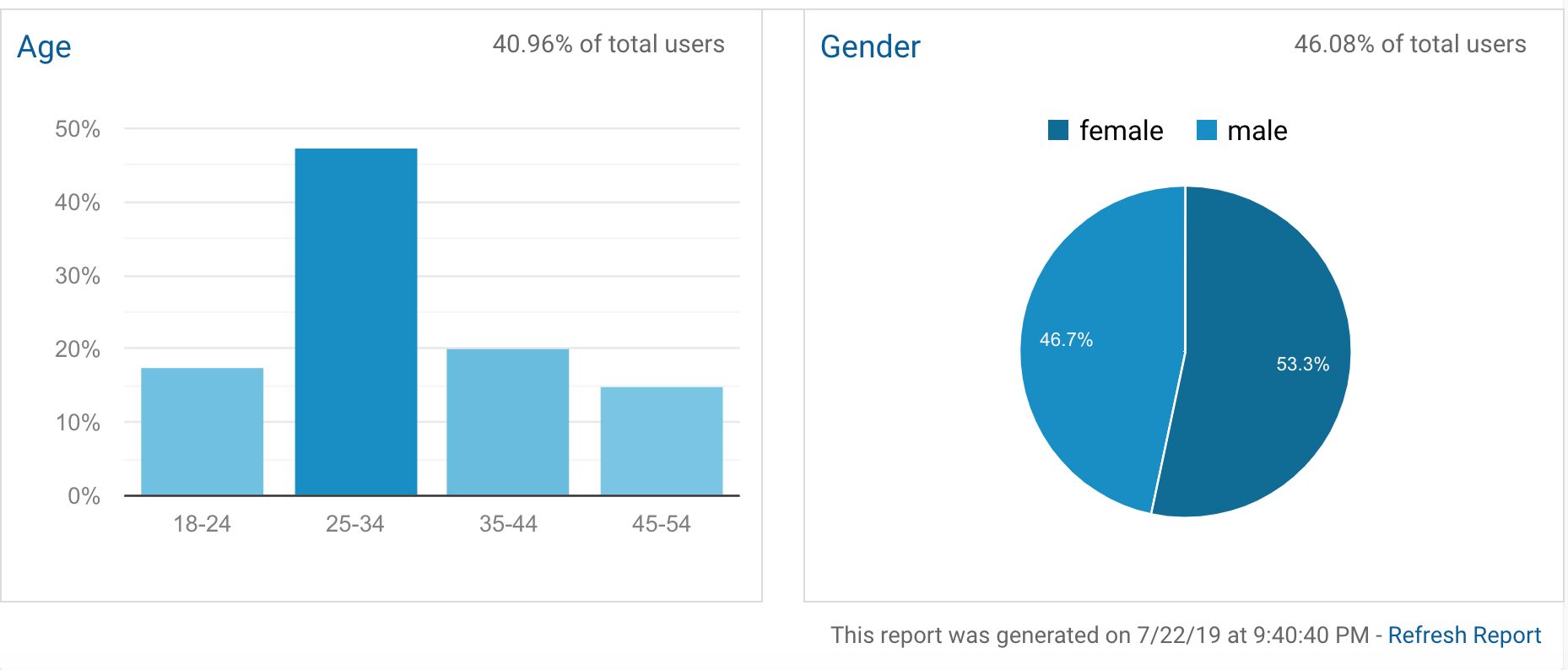 Gender split and age profile of our visitors