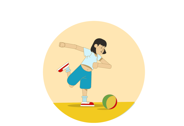 An illustration of a girl with Down syndrome about to kick a football