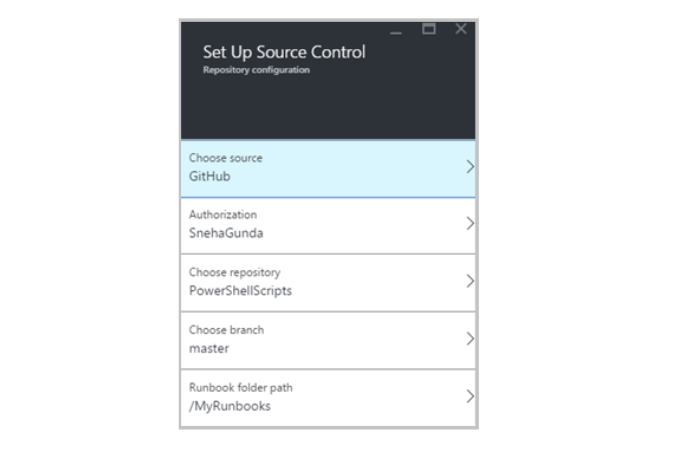 screenshot of source control applet where you set up repository configurations