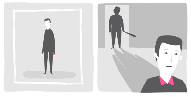 image 1. Illustration of an isolated person inside a containing box. image 2. Illustration of a person looking scared whilst a silhoetted person with a baseball bat is framed in a doorway behind them