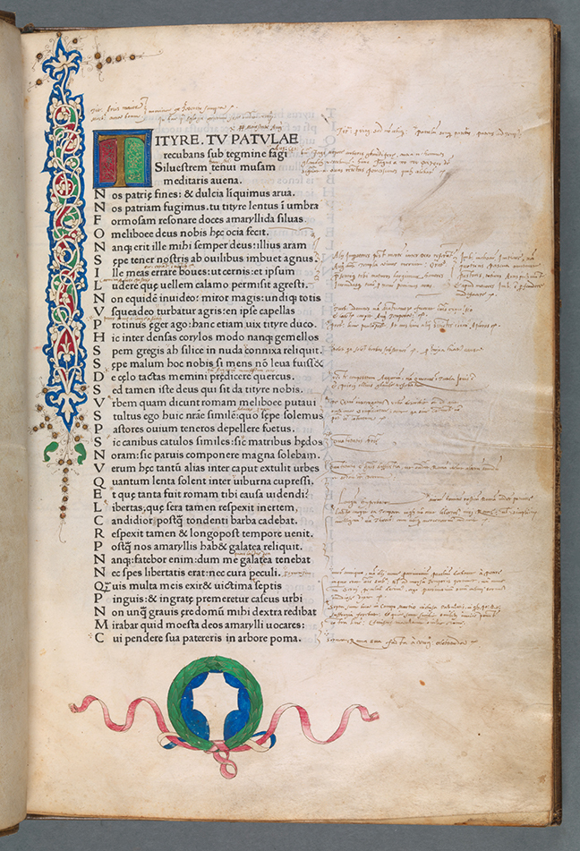 A page from Virgil, *Opera* with a blank shield at the end of the page (Venice: Vindelinus de Spira, 1470) fol. 1r. © The Board of Trinity College Dublin.