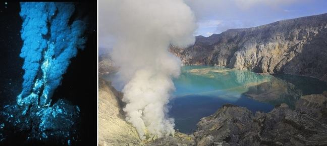 Left: Black smoker at a mid-ocean ridge hydrothermal vent, Right: The crater lake of the Kawah-Ijen volcano