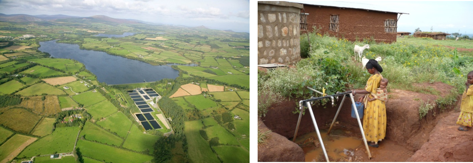Surface water resources: photo of reservoir in Ireland and local rainfall harvesting in Ethiopia.