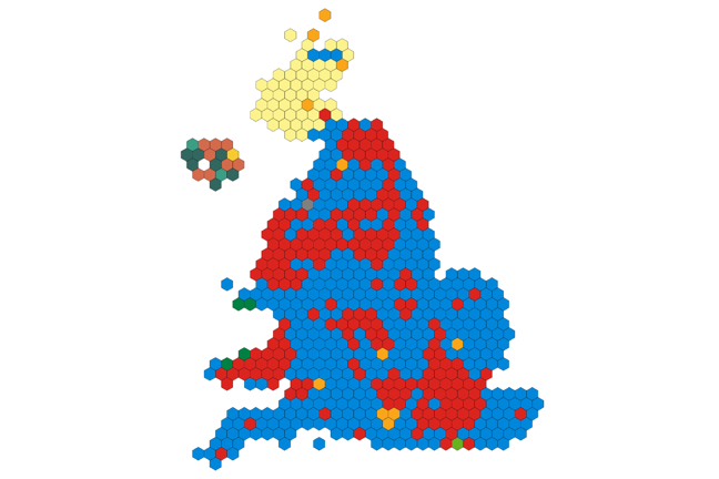 Graphical plot showing electoral results on a map of the UK. Each electorate is represented as a hexagon on the map, coloured according to the party that has won.