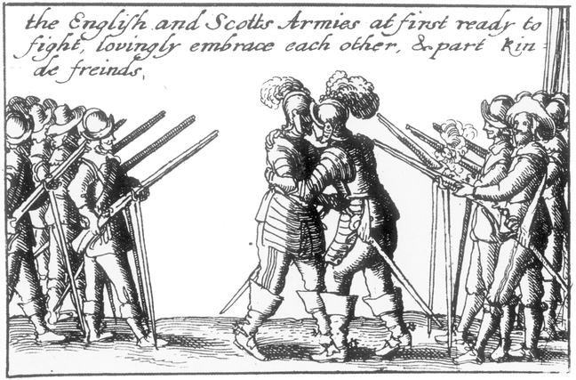 Contemporary satirical woodcut that reads: 'The English and Scotts Armies at first ready to fight, lovingly embrace each other, & part kinde freinds'. The Solemn League and Covenant of 1643 brings two old enemies together; laying aside centuries of conflict and mistrust, the Scots make common cause with the 'old enemy' England against Charles I