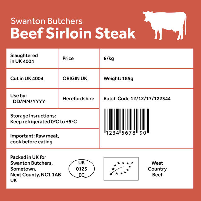 typical beef label containing information on its origin and traceability code along with weight, price, storage and usage instructions