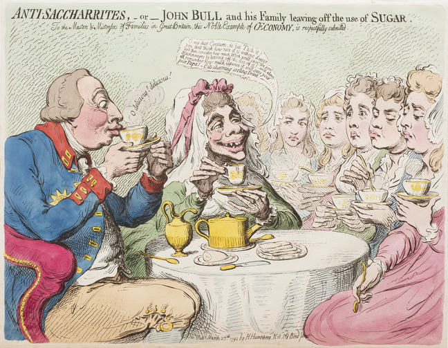 A cartoon print of the King and Queen with their daughters