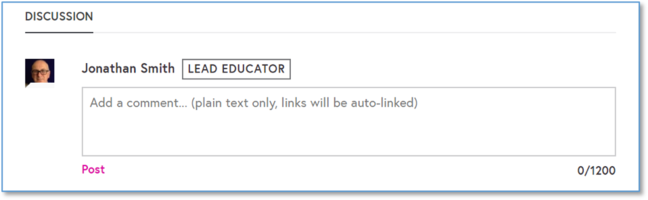 A screen shot of the discussion area on the FutureLearn platform with the comment box appearing