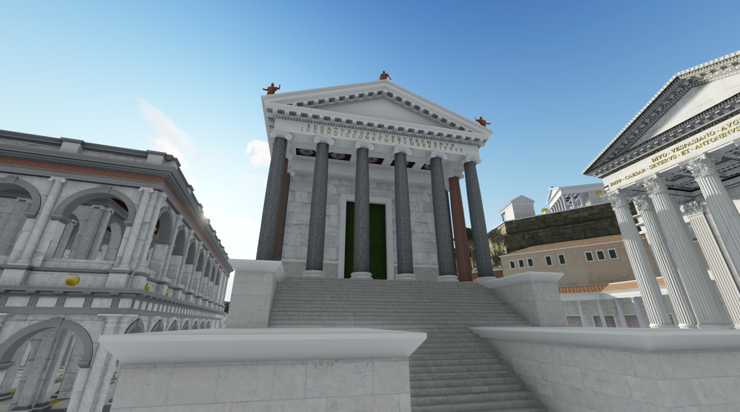 A digital recreation of a temple raised from the ground