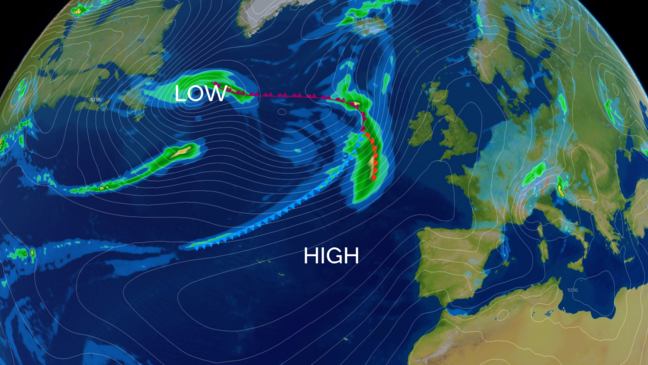 Weather graphics showing a map of the North Atlantic and Northwest Europe. A large area of high pressure covers much of the UK, with a low centred over Iceland and cloud and rain to the west of the UK