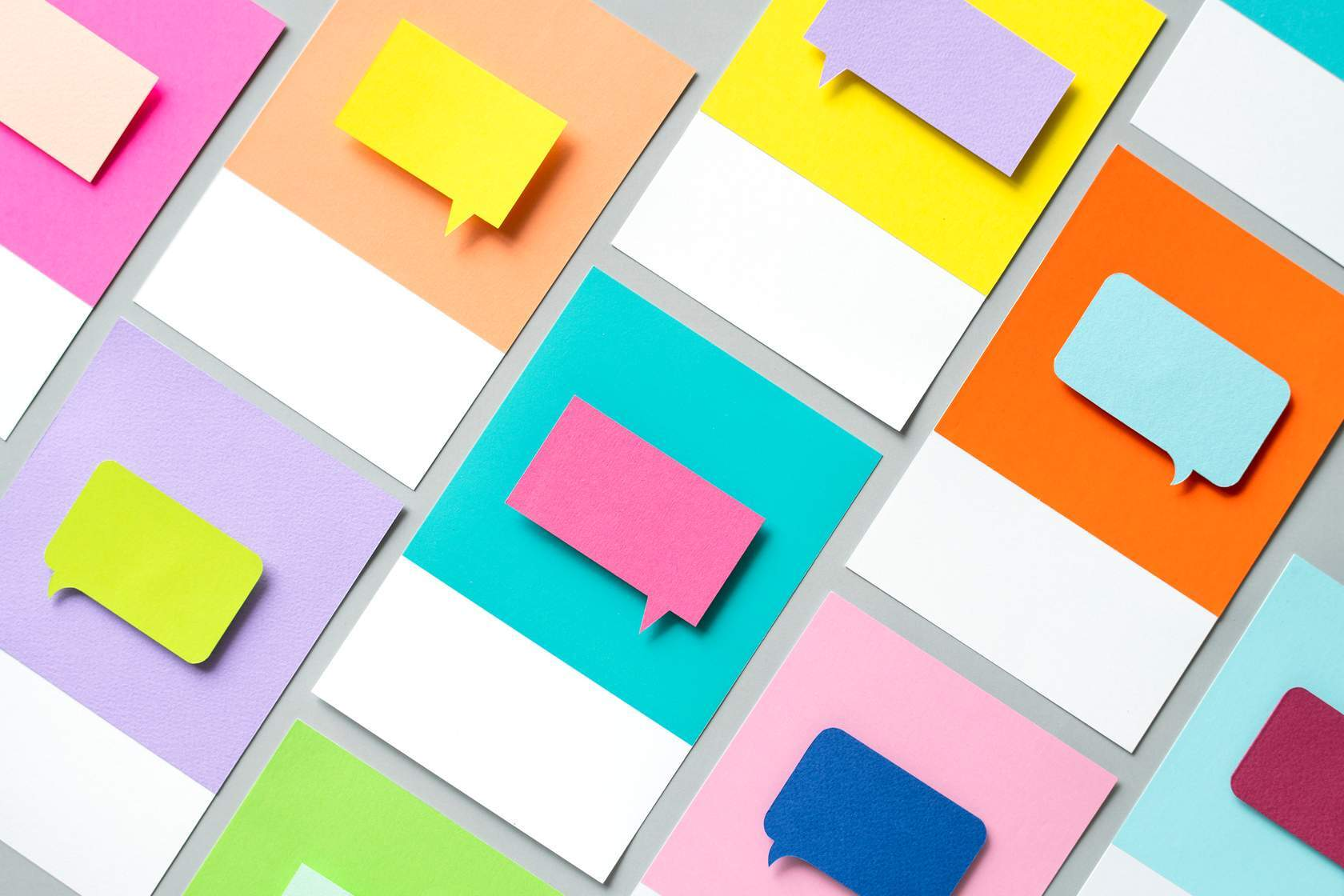 A series of colourful speech bubbles.