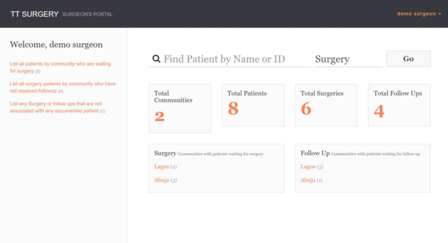 Screengrab of the surgeon dashboard