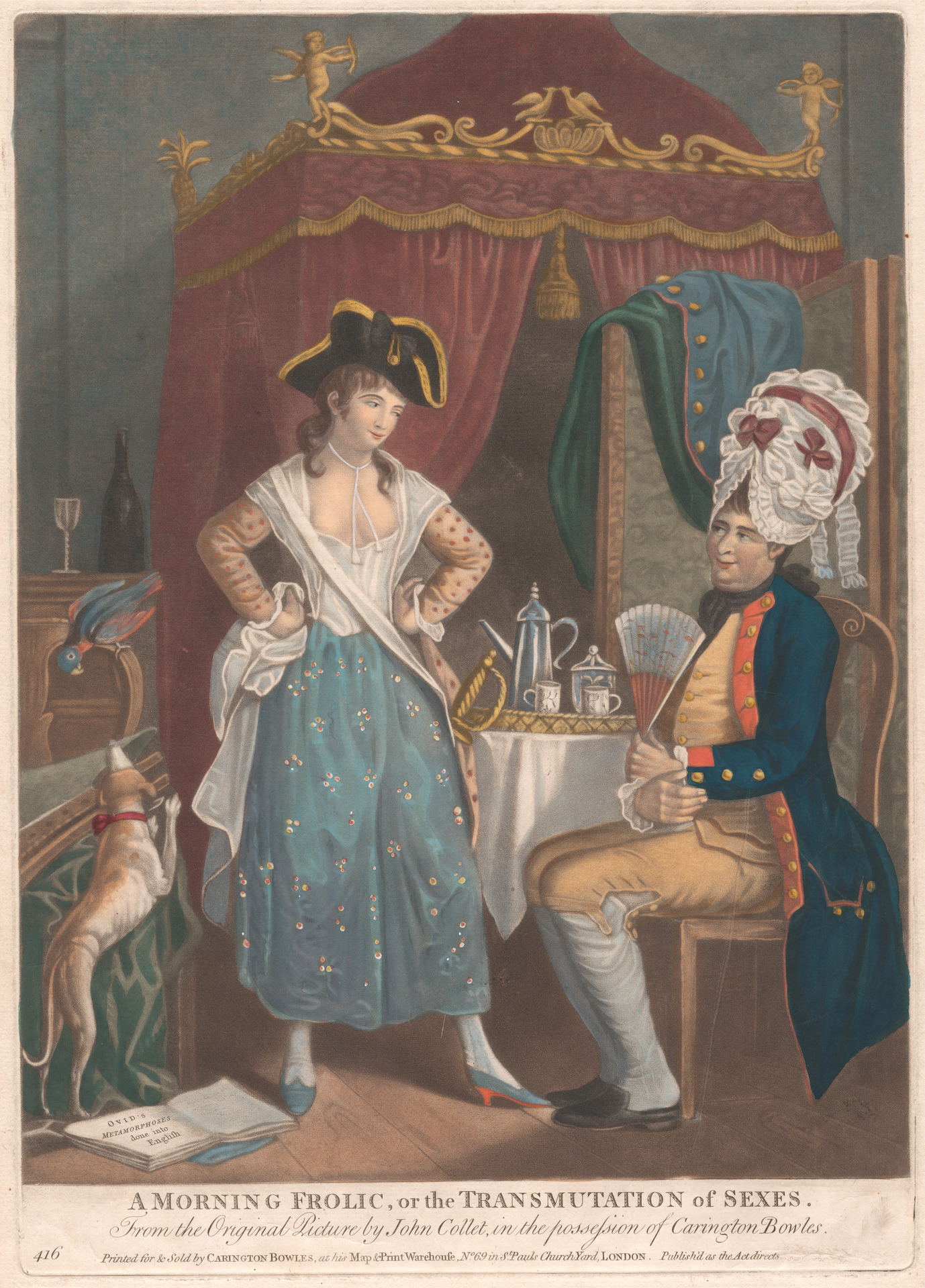 A parodic cartoon depicting male and female crossdressing, c. 1780, after a work by John Collet