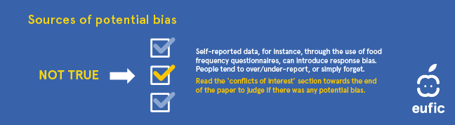 Source of potential bias. Self-reported data, for instance, through the use of food frequency questionnaires, can introduce response bias. People tend to over/under-report, or simply forget. Read the 'conflicts of interest' section towards the end of the paper to judge if there was any potential bias.
