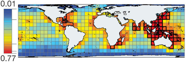 A global map with a grid overlay. Grid boxes are colour-coded according to level of diversity, with blue (lowest diversity) zones in the polar regions and red (highest diversity) zones located in the western Indian and eastern pacific oceans, and around the coasts of India and South Africa.