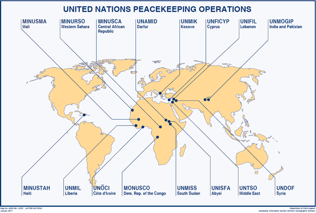 Current UN peacekeeping operations highlighted on a map.