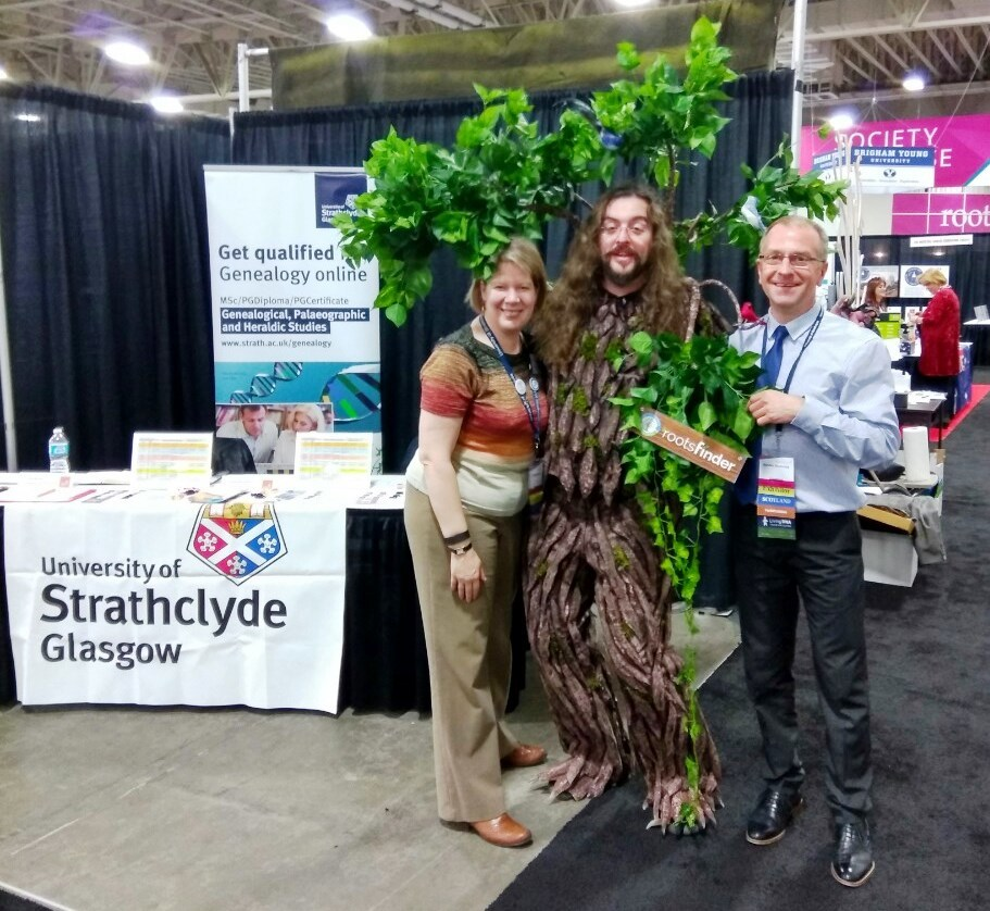 Tahitia and Alasdair of University of Strathclyde with RootsFinder tree man