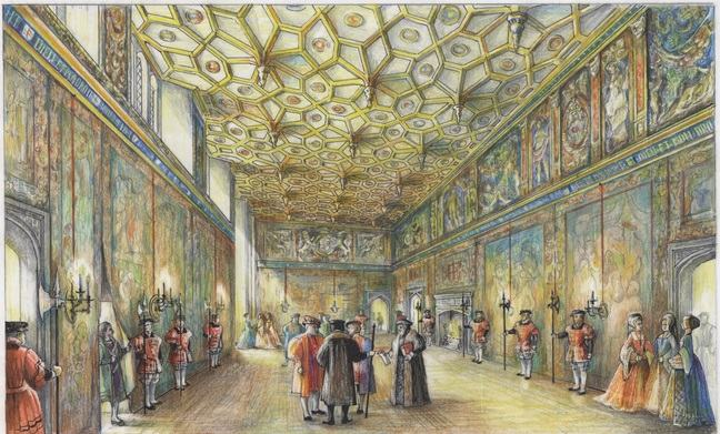 A coloured pencil drawing of the Great Watching Chamber that is filled with courtiers