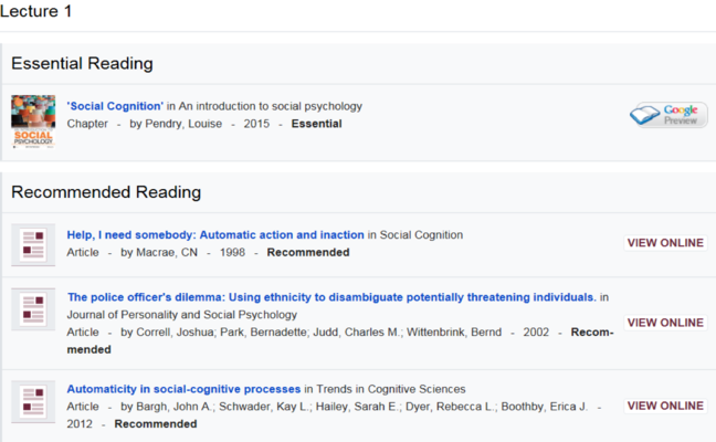 A screen shot of a reading list for Social Psychology. Essential Reading is a book 'Social Recognition'. Under Recommended Reading are the books: 'Help, I need somebody: Automatic action and inaction', 'The police officer's dilemma: Using ethnicity to disambiguate potentially threatening individuals' and 'Automaticity in social-cognitive processes'