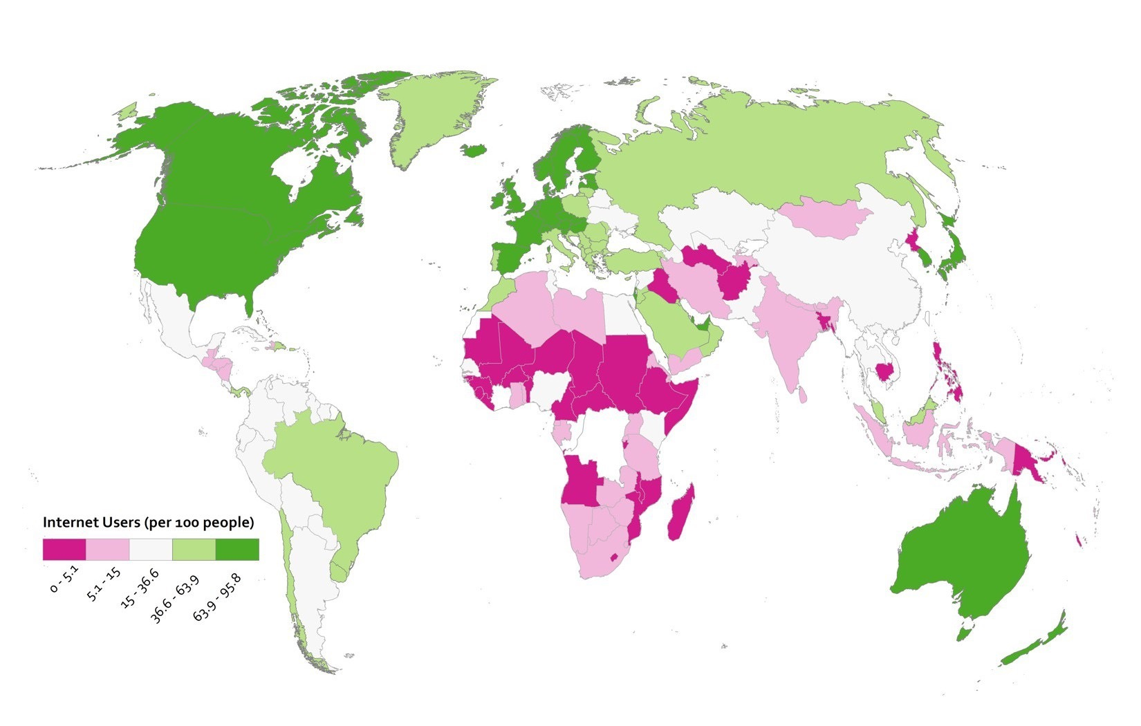 map using diverging color scheme. two shades of green =above middle and two shades of pink = below middle