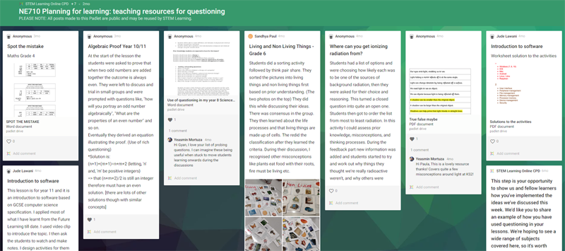 Resources shared on Padlet
