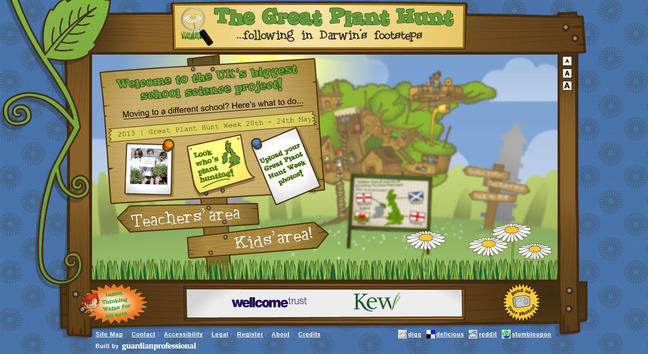 Screenshot of the Great Plant Hunt website