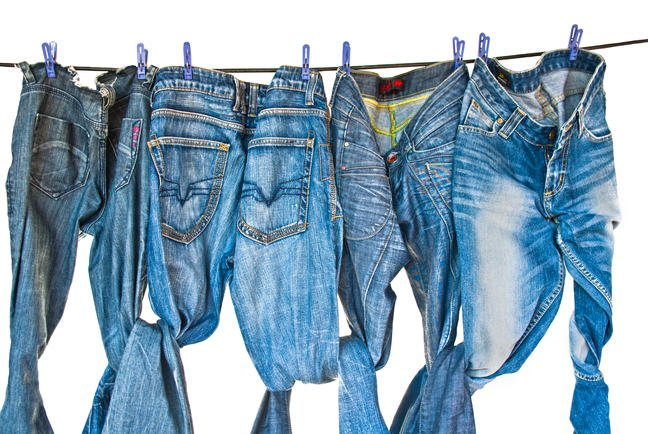 Blue jeans hanging on a clothesline
