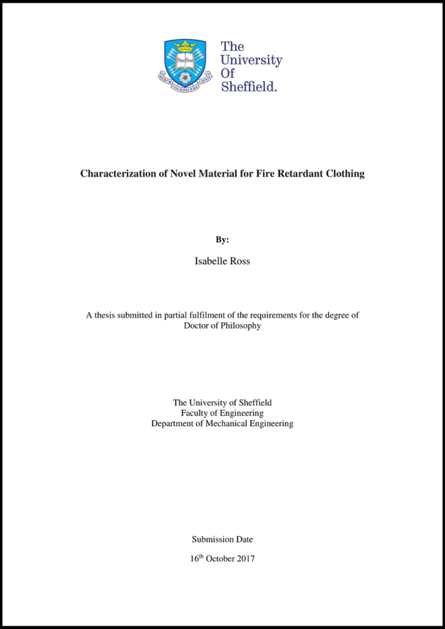 An example of a title page for a PhD thesis following the institutional standards of the University of Sheffield.