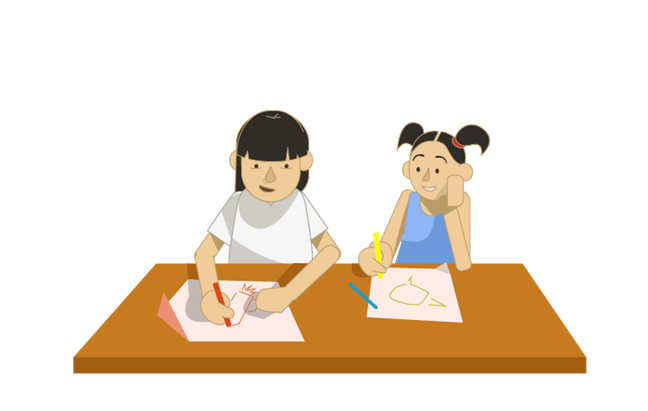 An illustration of two girls drawing side by side at a table