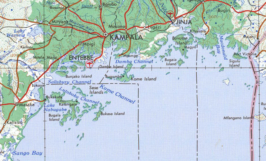 Map of the northern edge of Lake Victoria showing the Kalangala islands and the districts referred to above