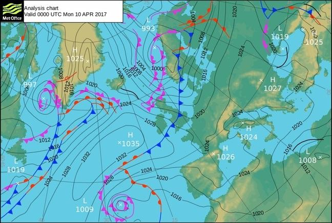 A Met Office Analysis Chart valid 0000 UTC Mon 10 April 2017. It shows a map centred on the UK, with isobars and fronts marked on. A large area of high pressure sits in the Atlantic marked with an x at the centre labelled 1035 hPa. Low pressure centred over Scandinavia results in weather fronts across the UK, with a trailing cold front across central areas, and 2 occlusions across Scotland. The isobars across the UK, indicate a northwesterly wind bringing a polar maritime air mass.