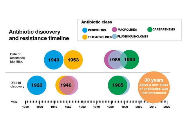 Antibiotic discovery and resistance timeline. Date of resistance identified: 1940 - Penicillins 1953 - Tetracyclines 1985 - Macrolides, Fluoroquinolones 1993 - Carbapenems. Date of discovery: 1928 - Penicillins  1948 - Tetracyclines, Macrolides 1985 - Carbapenems. 2010 was 30 years since a new class of antibiotics was last introduced