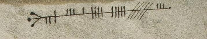 Figure 1, a section of Ogham script